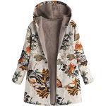 TIFIY Damen Mantel Plüschjacke Floral Print Winterjacke Casual Mantel Faux Für Warmen Lange Ärmel Outwear(Orange,EU-44/CN-2XL)