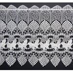 tischdecken-iris-shop GARDINEN Scheibengardine Plauener Spitze ® Weiß Schmetterlinge Vollspitze Gardine Panneaux (40x208 cm)