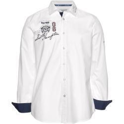 TOM TAILOR Polo Team Langarmhemd, mit Stickerei weiß
