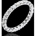 Trauring mit Diamanten besetzt in Weissgold - Krappenfassung - 1.14 Kar
