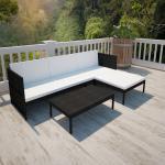 vidaXL 3-tlg. Garten-Lounge-Set mit Auflagen Poly Rattan Schwarz