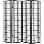 vidaXL 4tlg. Raumteiler Japanischer Stil Klappbar 160 x 170 cm Schwarz