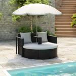 vidaXL Gartenbett mit Sonnenschirm Schwarz Poly Rattan