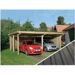 Weka Doppelcarport 618 Gr. 1, mit PVC-Kunststoffdach, Hellbraun