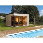 WEKA Holz Gartenhaus Designhaus wekaLine 412 Gr.1 - 45mm natur 380x300cm mit Glasfront