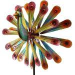 Windspiel Pfau Metallwindrad doppelläufig Garten Dekoration 179 cm Windrad