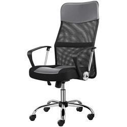 Yaheetech Bürostuhl, ergonomischer Schreibtischstuhl, atmungsaktiver Bürodrehstuhl, Computerstuhl mit hoher Netz-Rückenlehne, Office Chair Wippfunktion, Chefsessel Belastbar bis 135 kg Grau