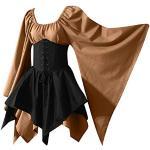 YEBIRAL Damen Mittelalter Kleid mit Trompetenärmel Gothic Retro Kleid Renaissance Cosplay Kostüm Gebunden Taille Übergröße Kleid Karneval Party Halloween Kostüm