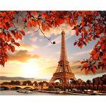 YEESAM ART DIY Ölgemälde Malen nach Zahlen Erwachsene Kinder, Sonnenuntergang Paris Eiffelturm Landschaft Zahlenmalerei ab 5 Öl Wandkunst (Eiffelturm, ohne Rahmen)