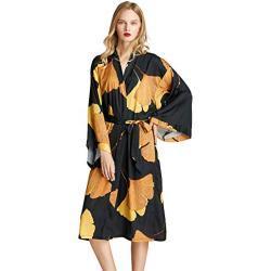 ZAPZEAL Damen Morgenmantel Kimono Kleid Kimono Bademantel Damen Lang Robe Blumen Schlafmantel Girl Pajama Party